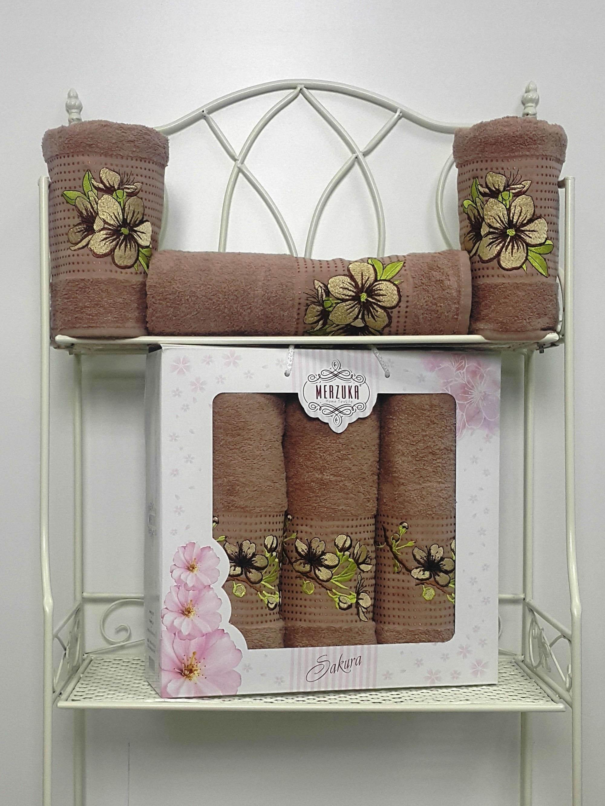Полотенца Oran Merzuka Полотенце Sakura Цвет: Коричневый (Набор) полотенца oran merzuka полотенце sakura цвет светло лиловый набор