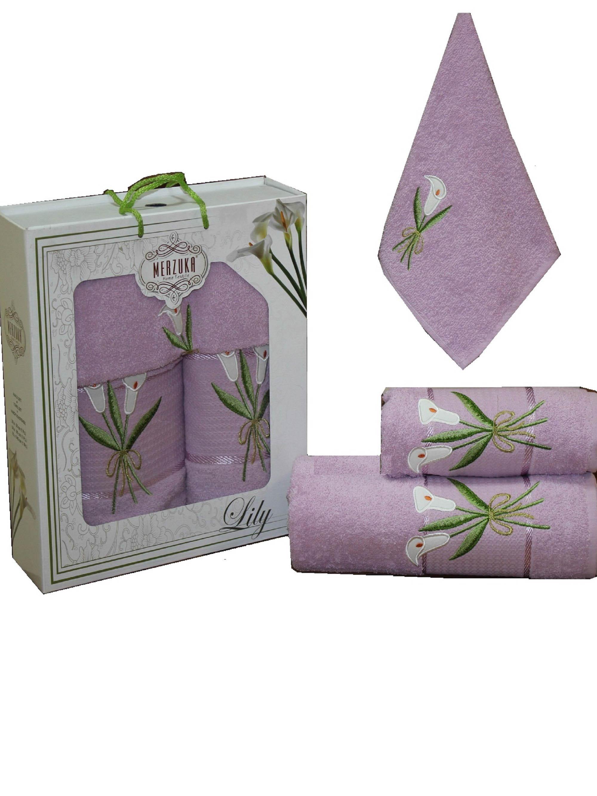 Полотенца Oran Merzuka Набор из 3 полотенец Zambak Цвет: Сиреневый