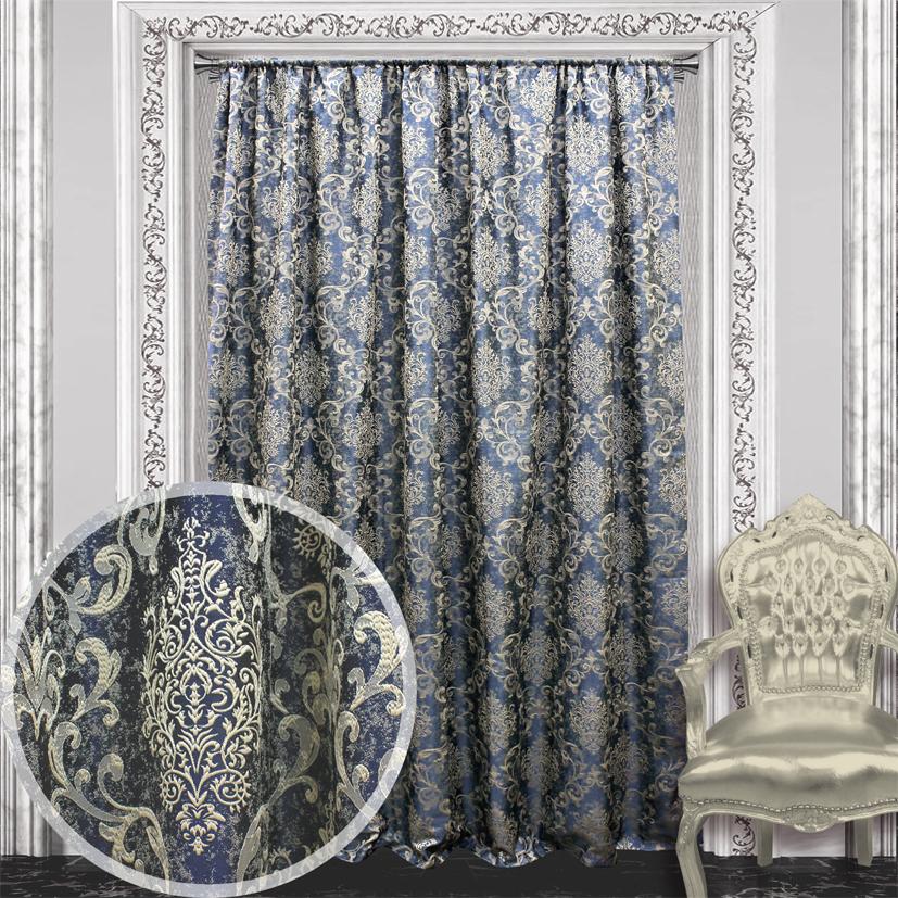 Купить Шторы Amore Mio, Классические шторы Ravenna Цвет: Синий, Китай, Жаккард