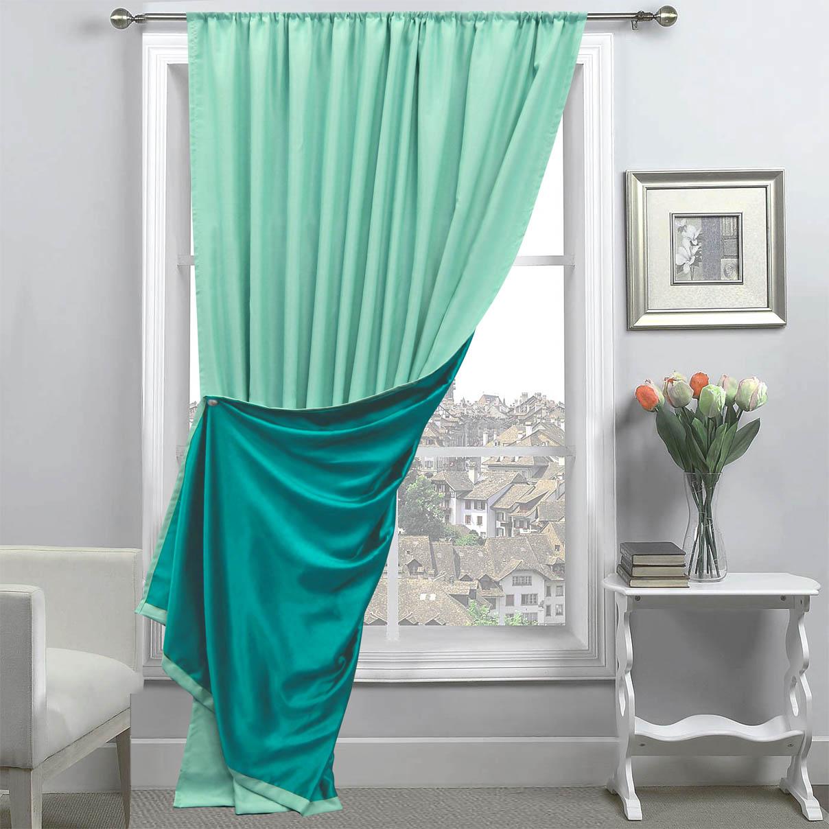 Купить Шторы Amore Mio, Классические шторы Milan Цвет: Ментол/Бирюзовый, Китай, Зеленый, Blackout
