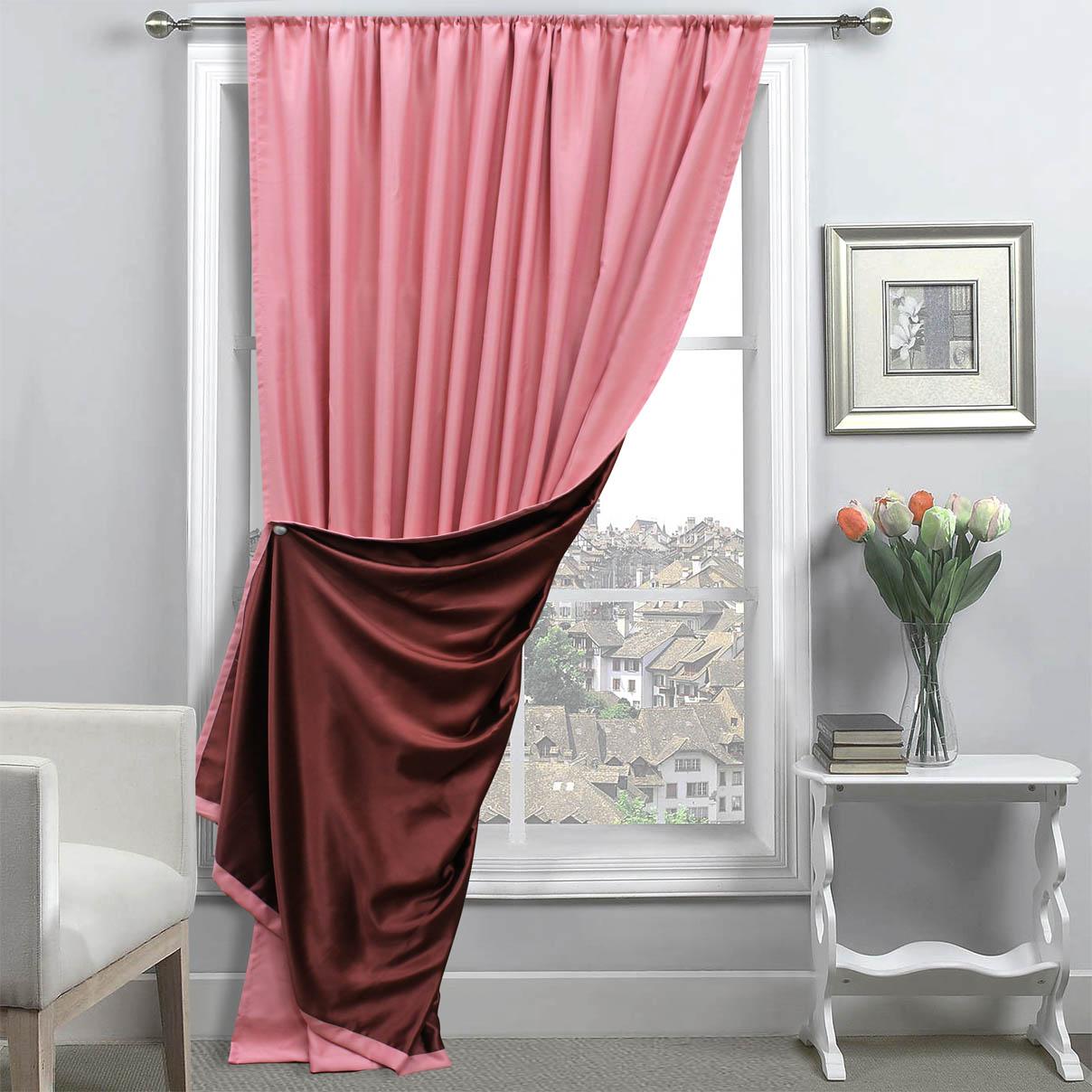 Купить Шторы Amore Mio, Классические шторы Milan Цвет: Персиковый/Бордовый, Китай, Blackout
