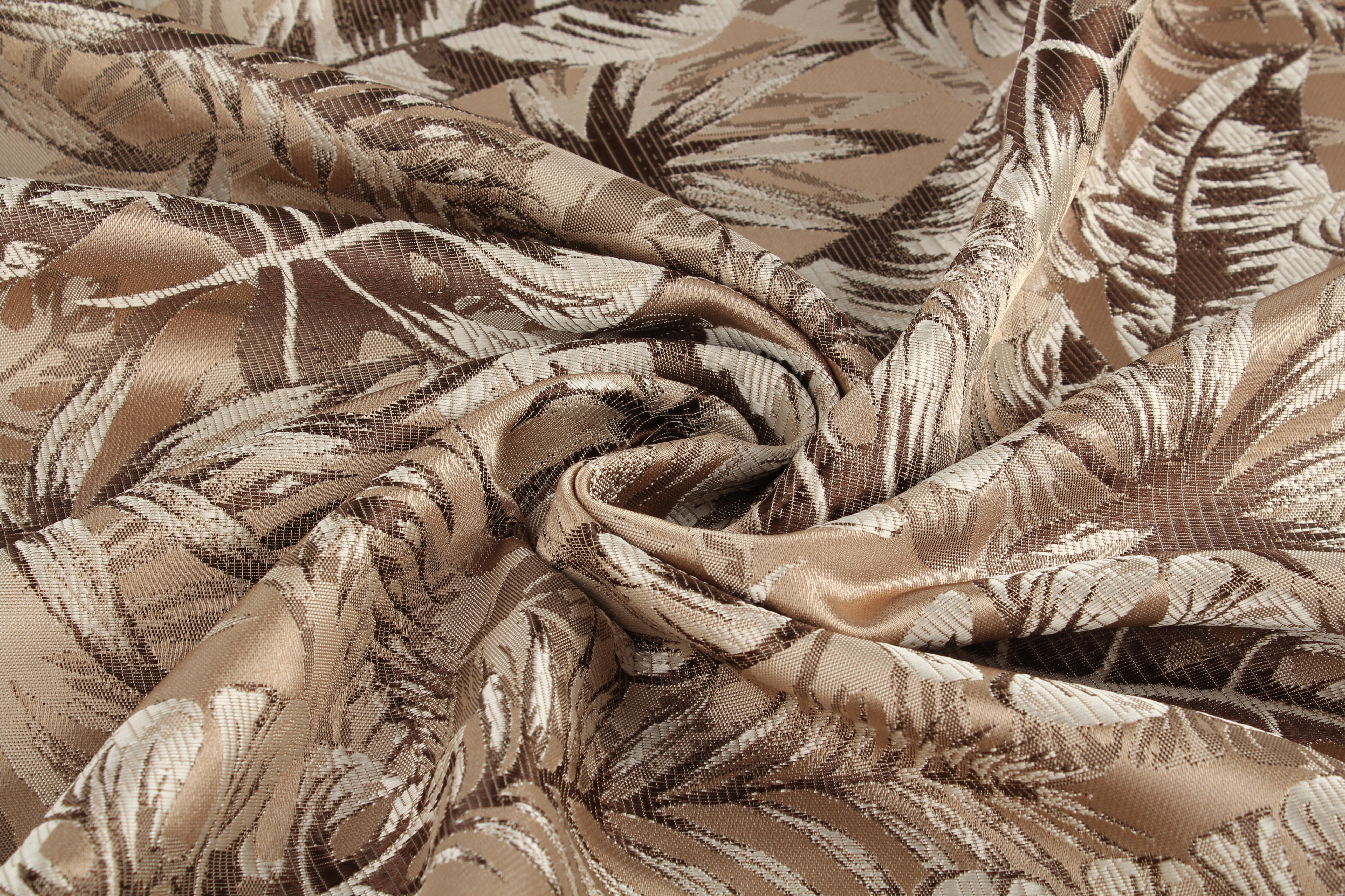 Ткани TexRepublic, Материал Жаккард Monstera Цвет: Коричневый, Турция  - Купить