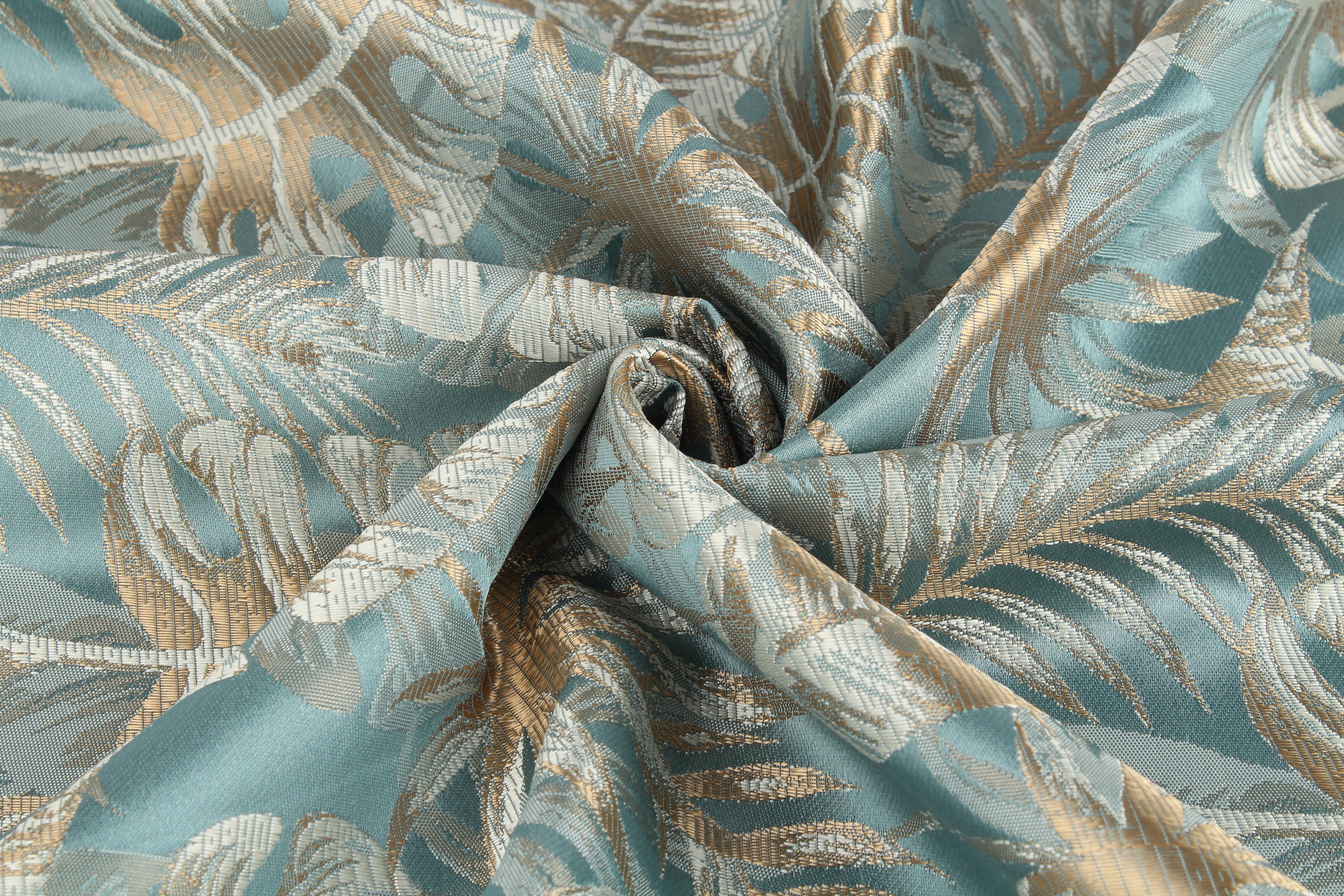 Купить Ткани TexRepublic, Материал Жаккард Monstera Цвет: Бирюзовый, Турция, Голубой