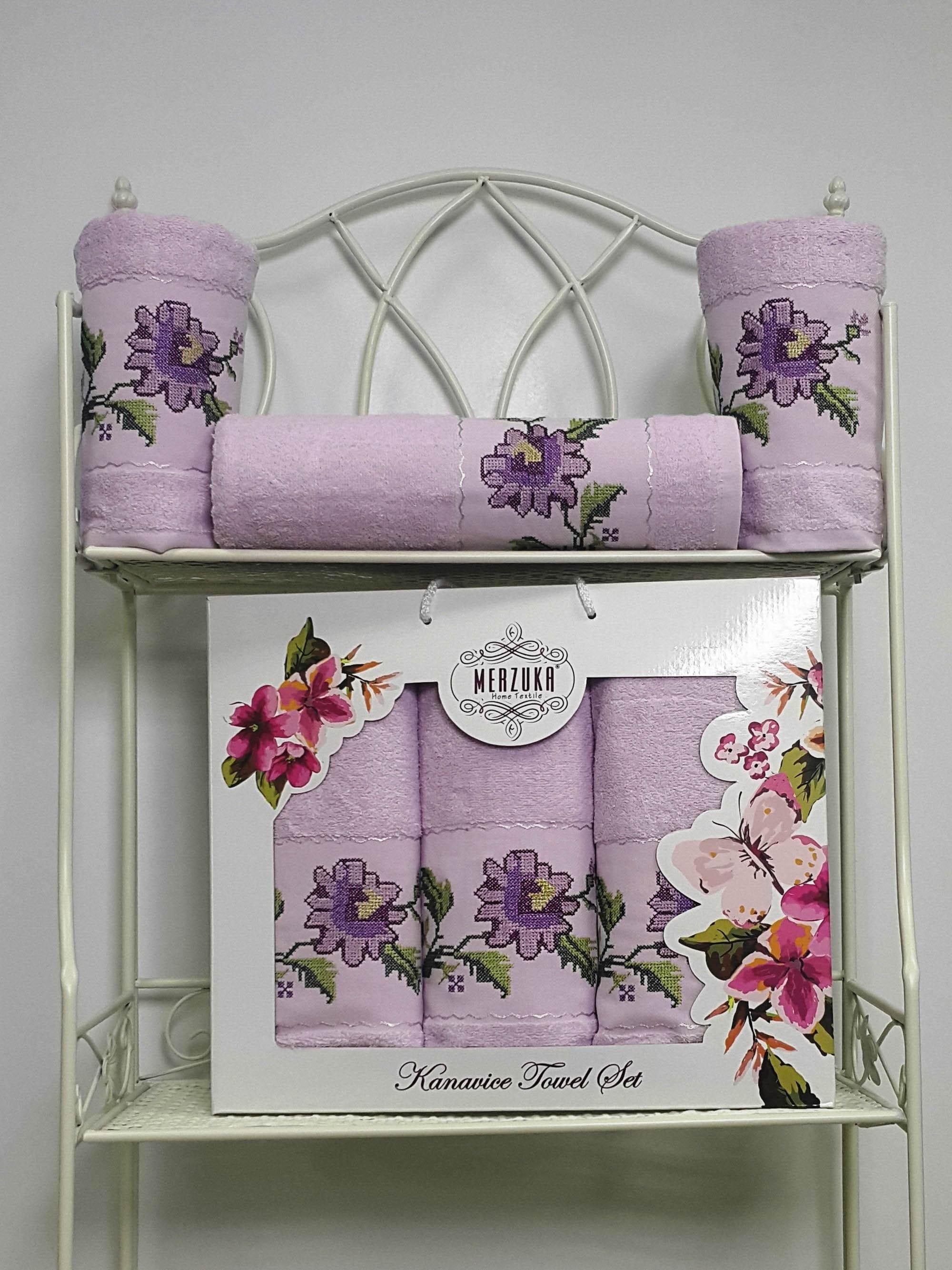 Полотенца Oran Merzuka Полотенце Kanavice Цвет: Лиловый (Набор) полотенца oran merzuka полотенце sakura цвет светло лиловый набор