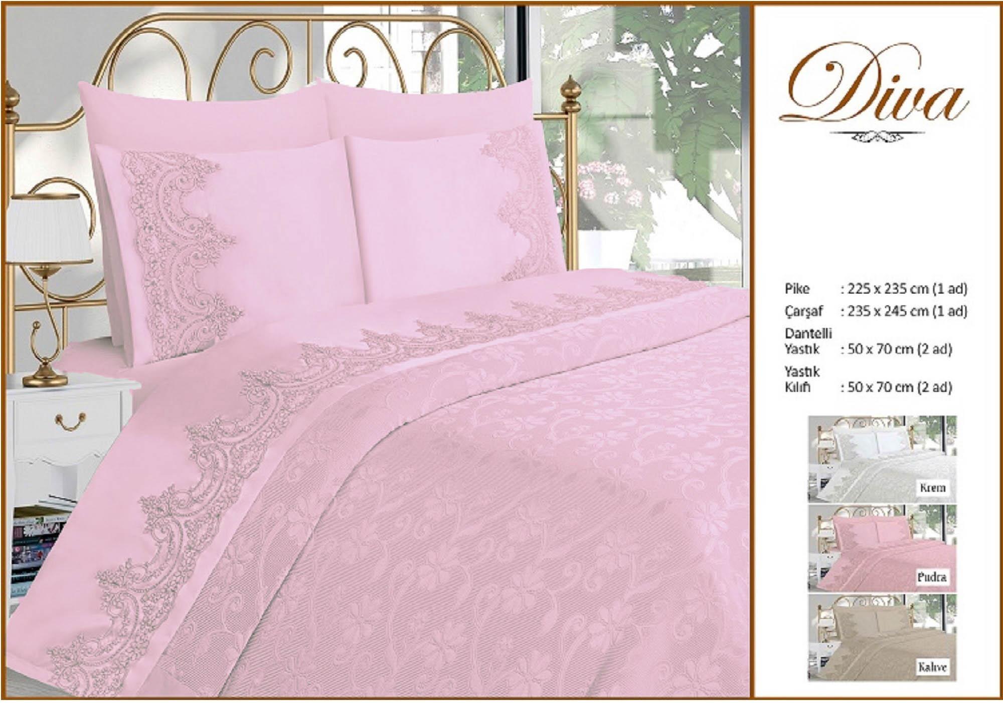 Купить Комплекты постельного белья DO'n'CO, Постельное белье Diva Цвет: Пудра (2 сп. евро), Турция, Розовый, Хлопковый сатин