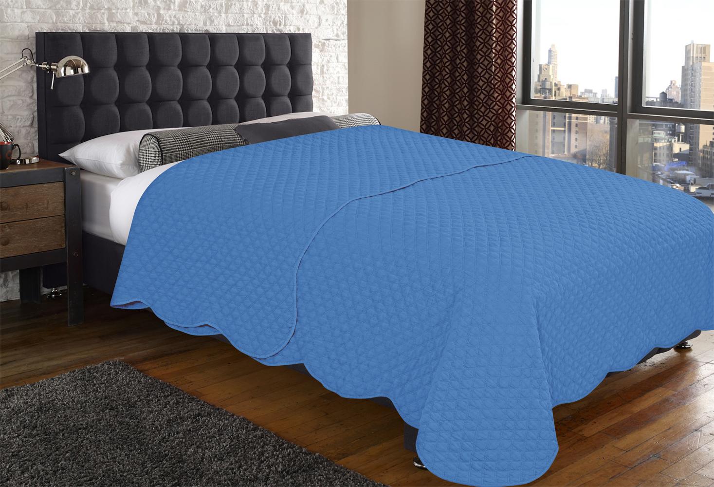 Купить Пледы и покрывала Amore Mio, Покрывало Mathew(220х240 см), Китай, Синий, Синтетический сатин