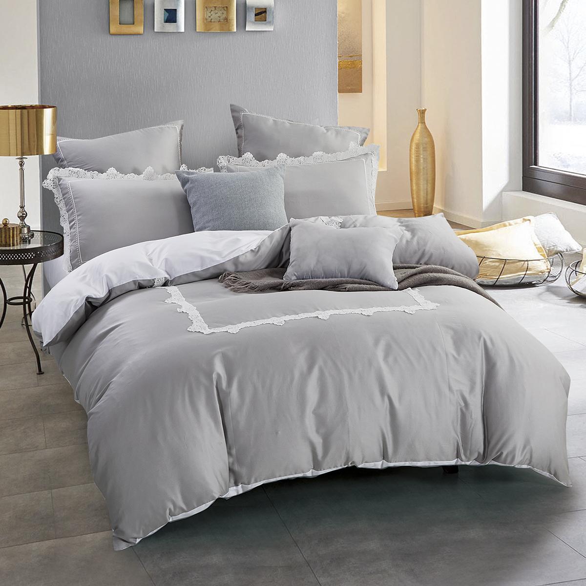 Купить Комплекты постельного белья Arya, Постельное белье Lola (2 сп. евро), Турция, Серый, Хлопковый сатин