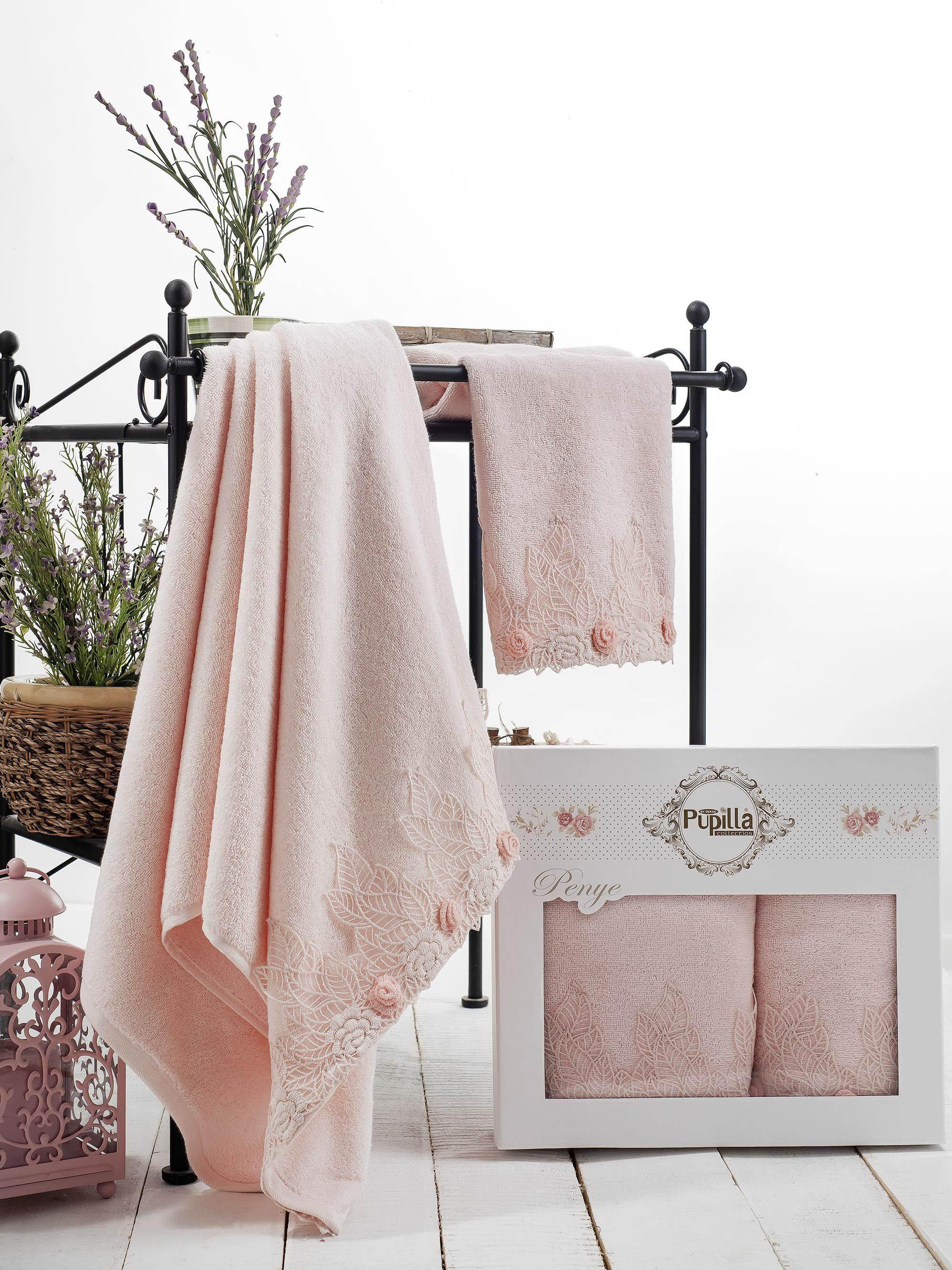 Полотенца Pupilla Набор из 2 полотенец Seren Цвет: Розовый полотенца pupilla набор из 2 полотенец stil цвет кремовый