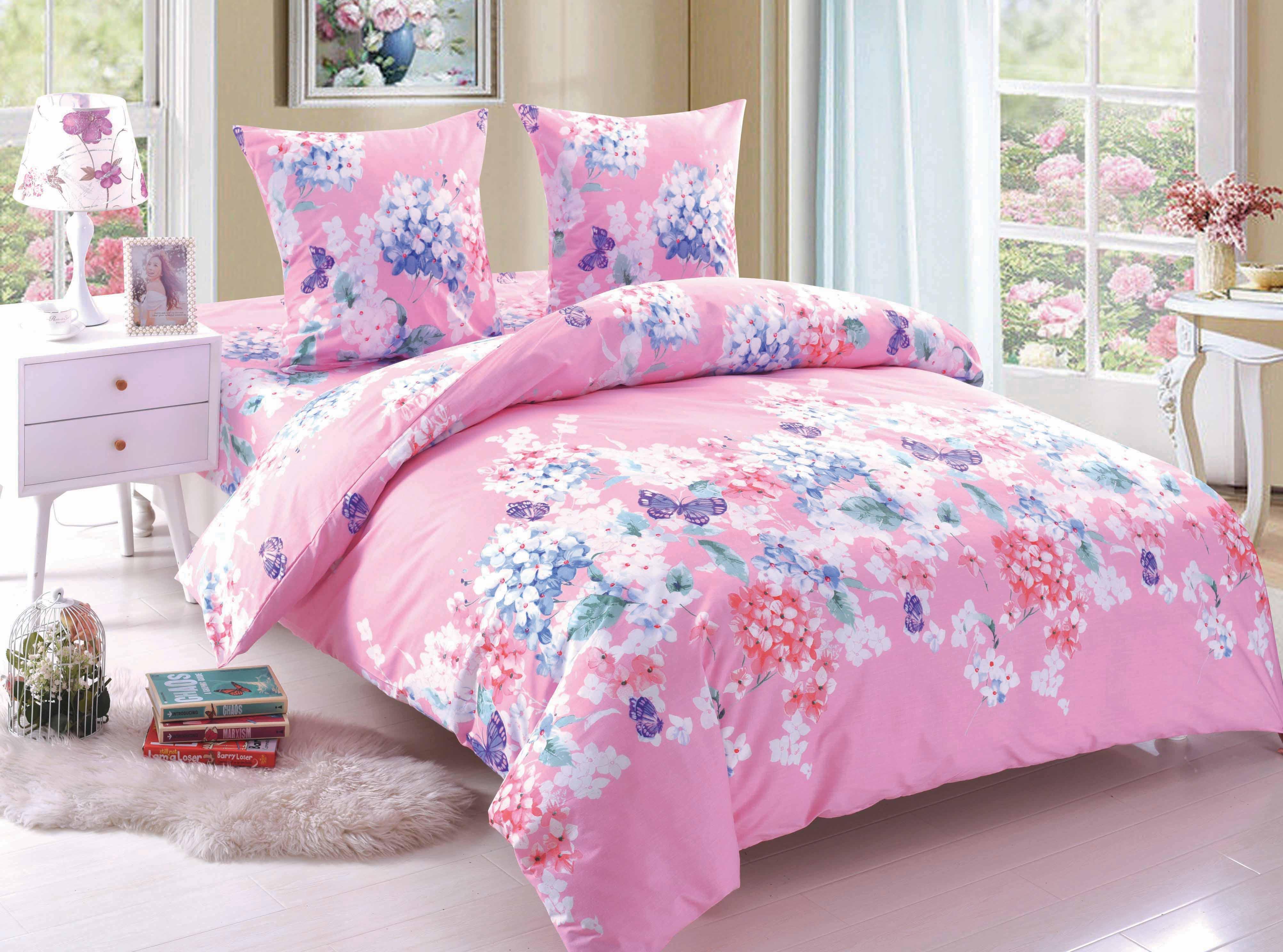 Купить Комплекты постельного белья Amore Mio, Постельное белье Olivia (2 спал.), Китай, Голубой, Розовый, Поплин