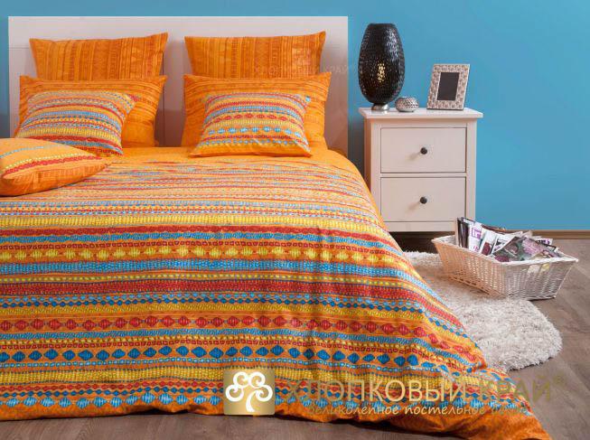 Комплекты постельного белья Хлопковый Край, Постельное белье Танзания Цвет: Оранжевый (2 сп. евро), Россия, Бязь  - Купить