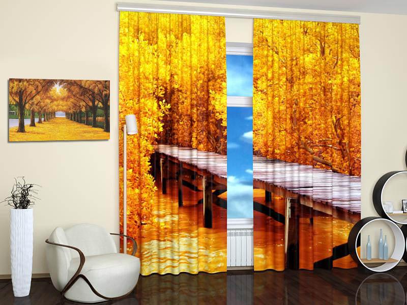 Шторы StickButik Фотошторы Золотая Дорога