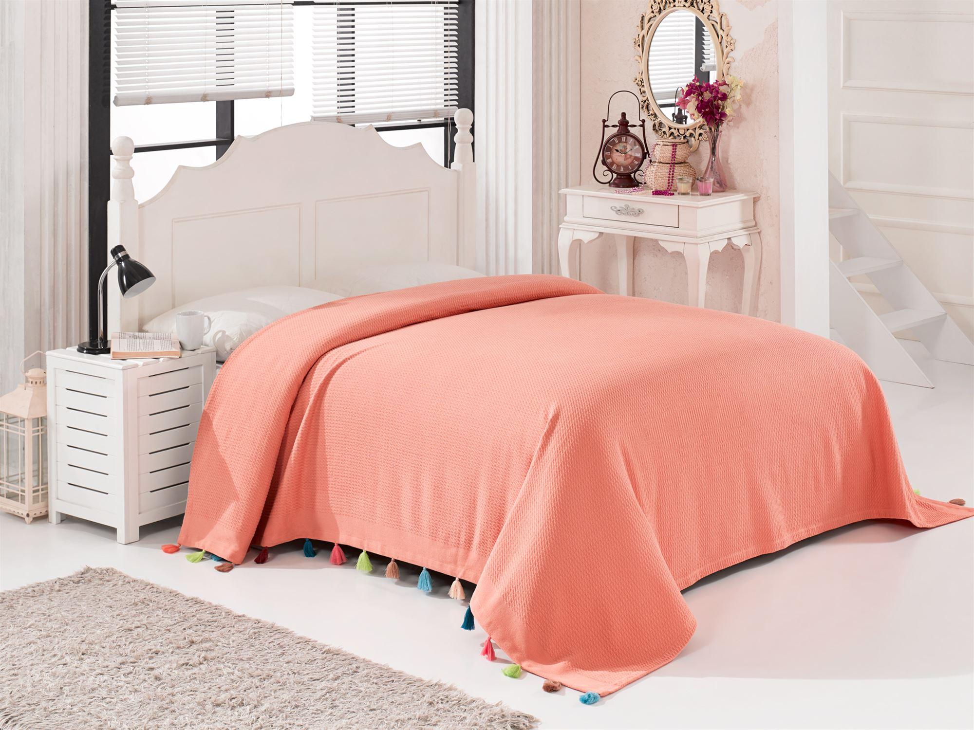 Купить Пледы и покрывала DO'n'CO, Покрывало Pop Цвет: Терракотовый (230х240 см), Турция, Оранжевый, Пике из хлопка