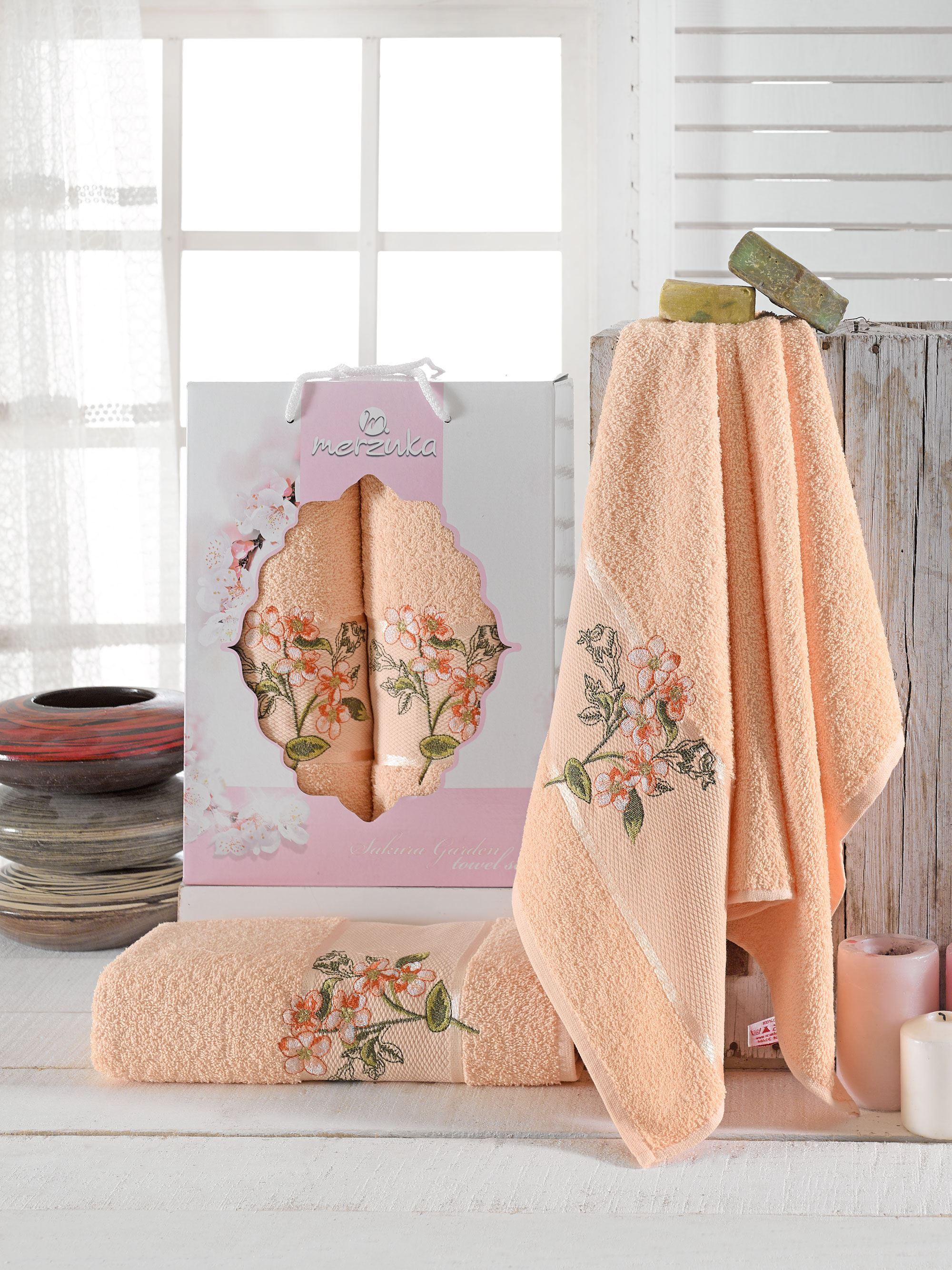 Полотенца Oran Merzuka Полотенце Sakura Garden Цвет: Оранжевый (50х80 см,70х130 см) оранжевый prime м 50х90 70х130 в коробке набор полотенец фиеста