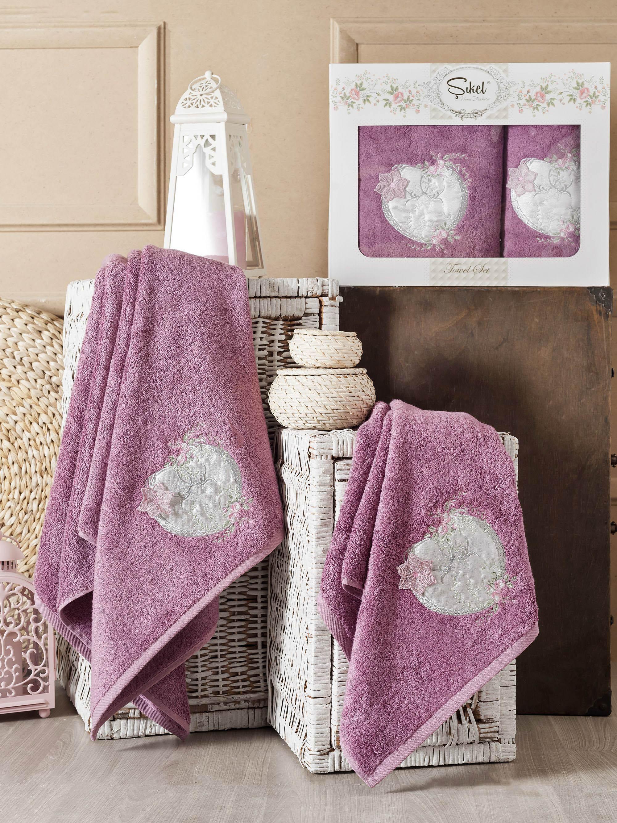 Полотенца Sikel Набор из 2 полотенец Simli Kalp Цвет: Фиолетовый фиолетовый kvadrro м 50х90 70х130 в коробке набор полотенец фиеста