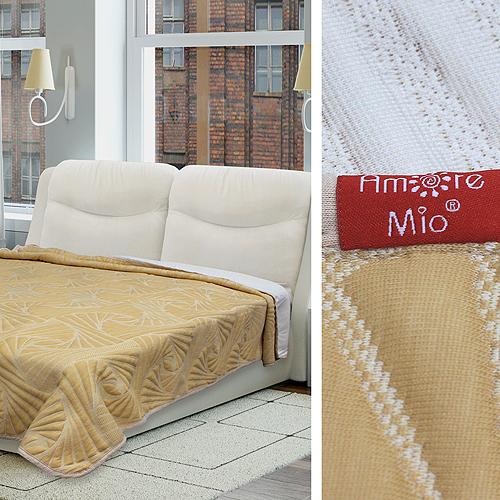 Купить Пледы и покрывала Amore Mio, Покрывало Fancy Цвет: Бежевый (200х220 см), Россия, Синтетический трикотаж