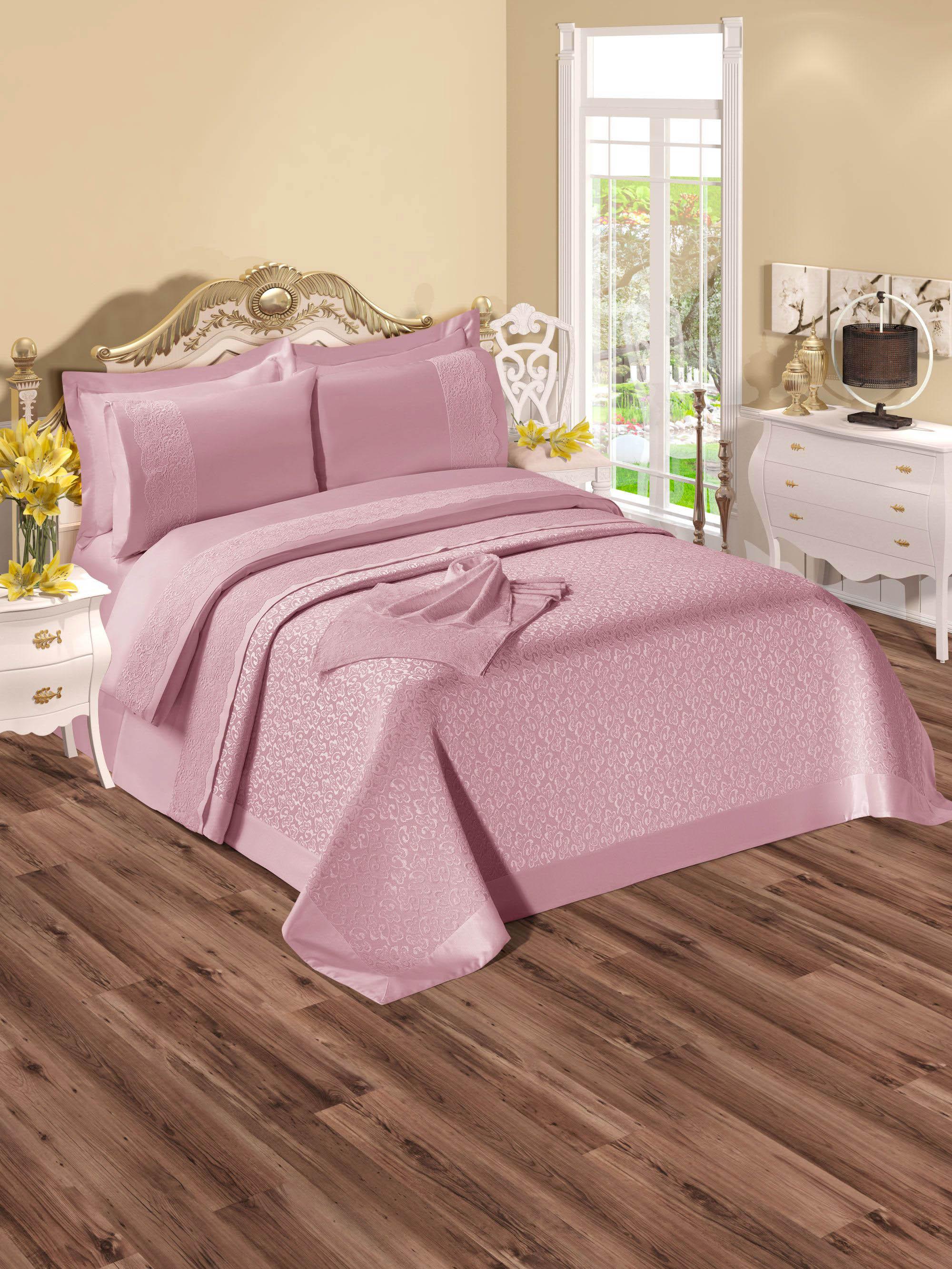 Купить Комплекты постельного белья DO'n'CO, Постельное белье Elizabeth Цвет: Пудра (2 сп. евро), Турция, Розовый, Хлопковый сатин
