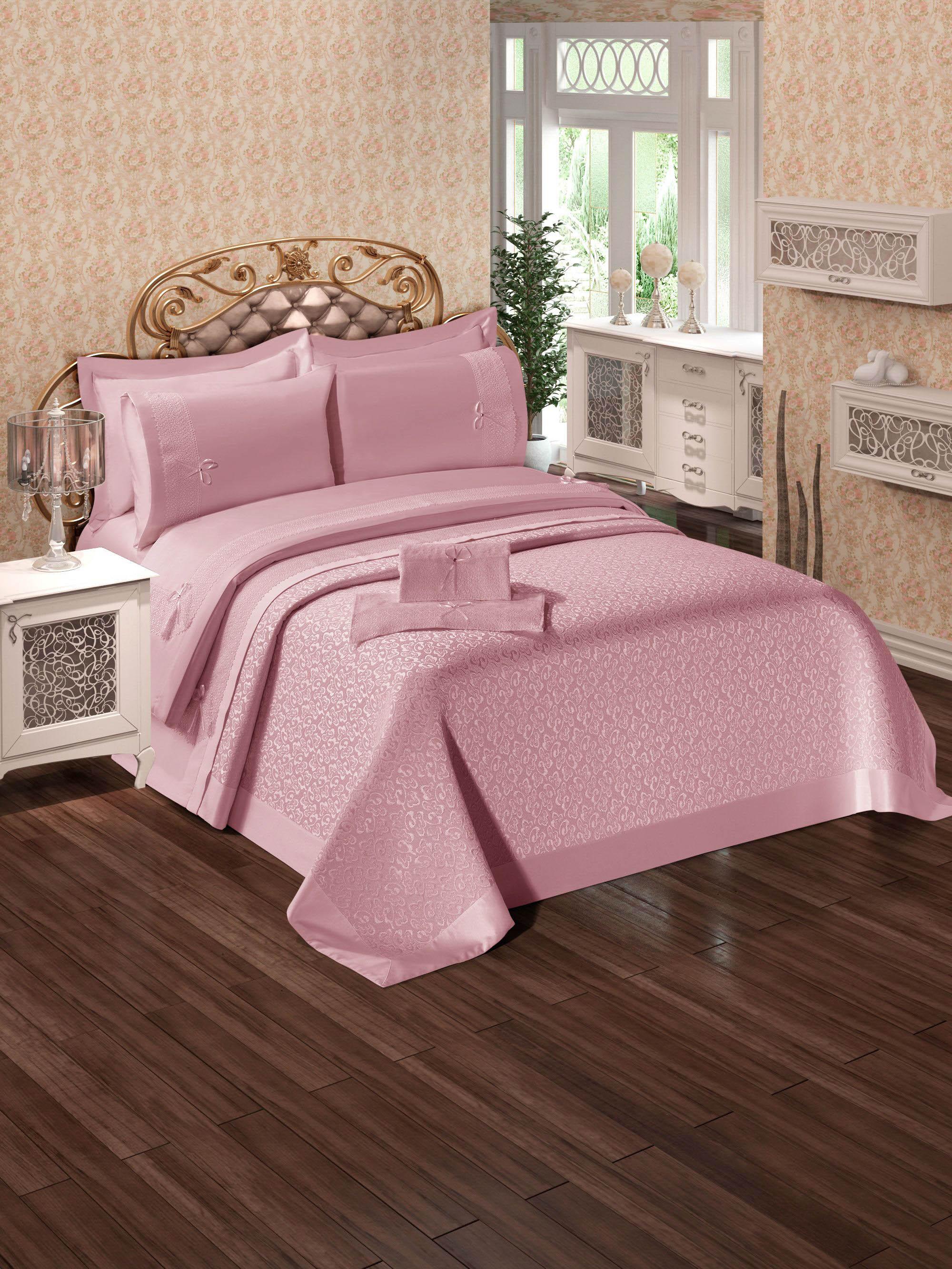 Купить Комплекты постельного белья DO'n'CO, Постельное белье Ipek Цвет: Пудра (2 сп. евро), Турция, Розовый, Хлопковый сатин