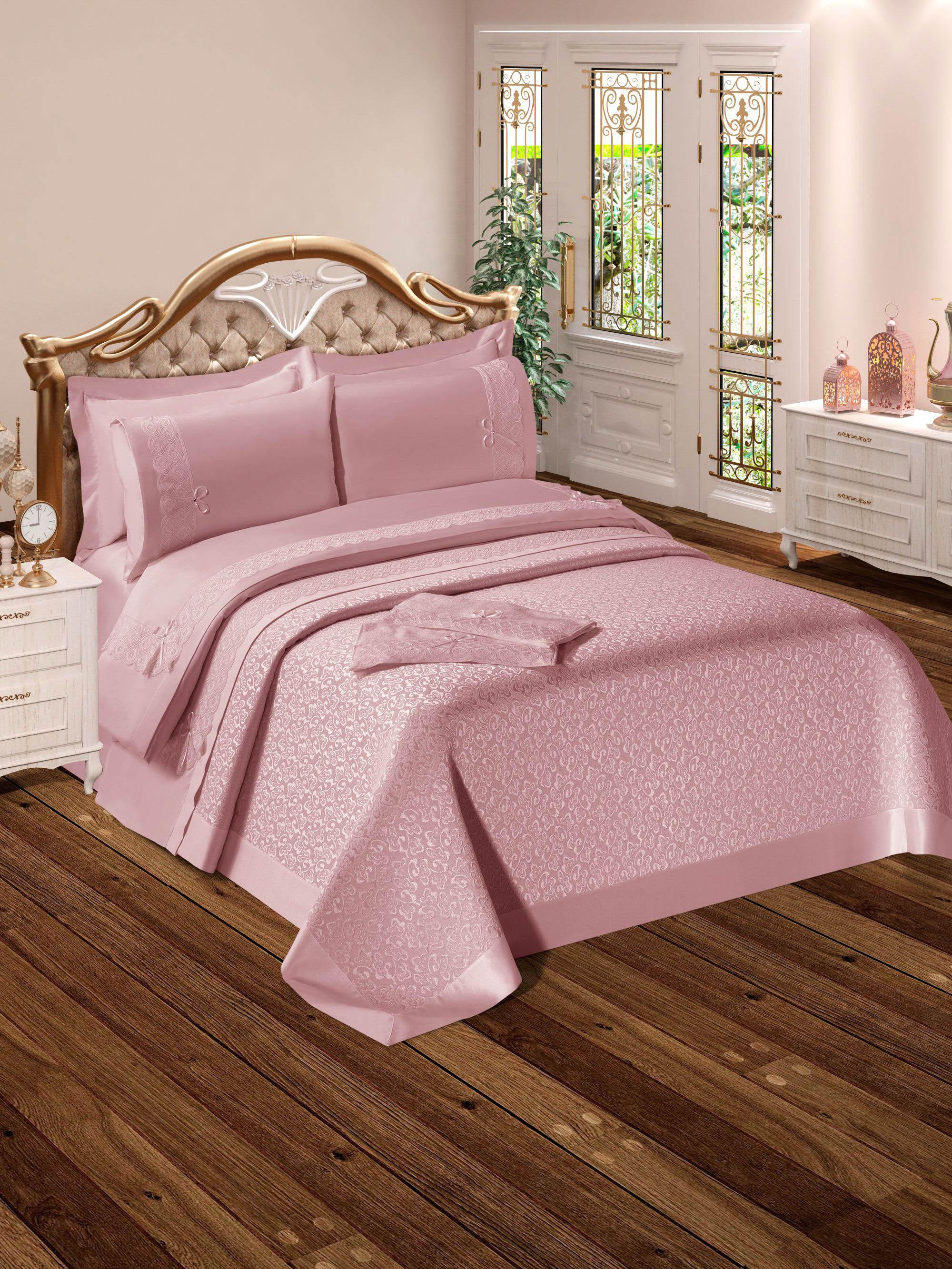 Купить Комплекты постельного белья DO'n'CO, Постельное белье Yagmur Цвет: Пудра (2 сп. евро), Турция, Розовый, Хлопковый сатин