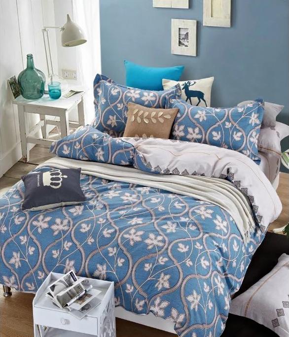 Купить Комплекты постельного белья Tango, Постельное белье Rayne (2 сп. евро), Китай, Белый, Голубой, Синий, Хлопковый сатин