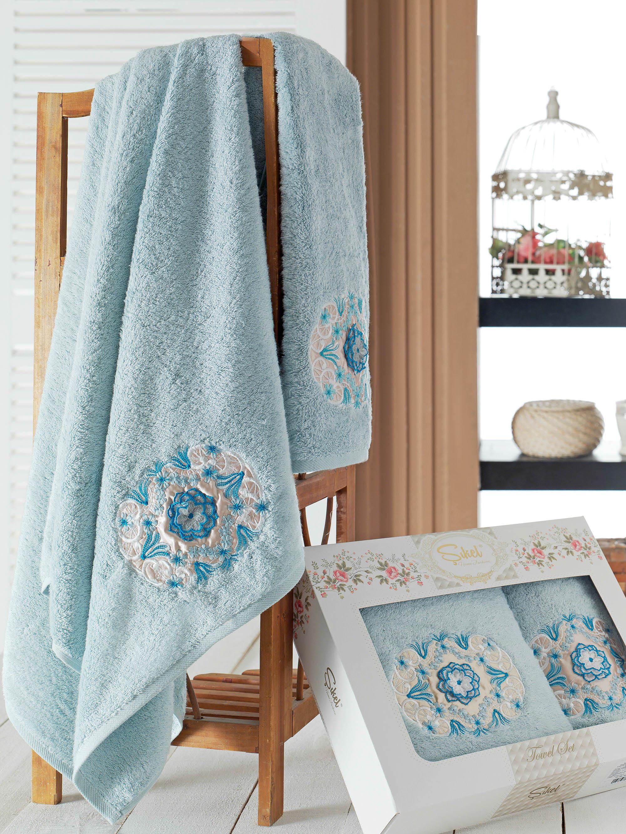Полотенца Sikel Набор из 2 полотенец Kamelya Цвет: Голубой голубой kvadrro м 50х90 70х130 в коробке набор полотенец фиеста