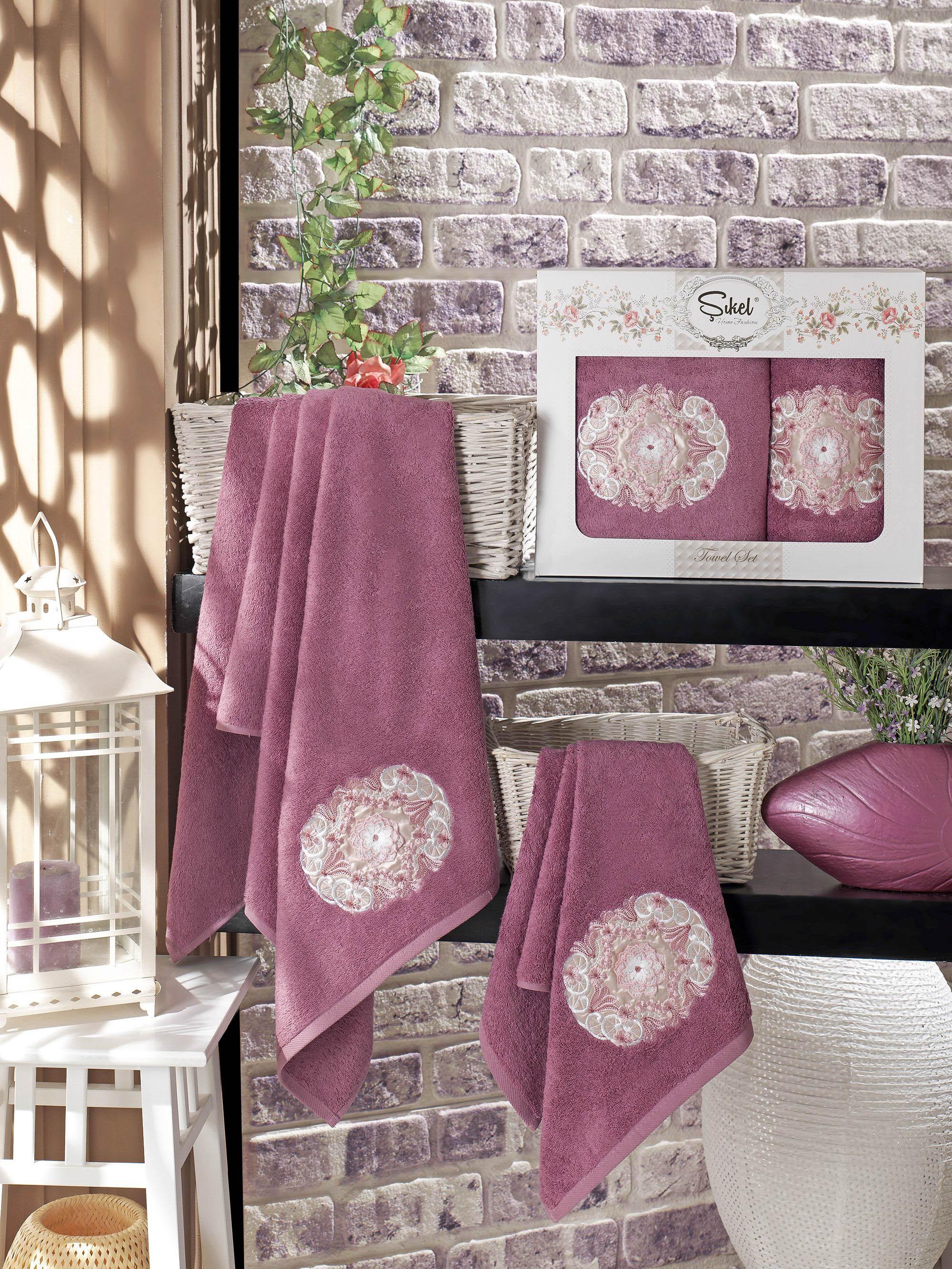 Полотенца Sikel Набор из 2 полотенец Kamelya Цвет: Фиолетовый