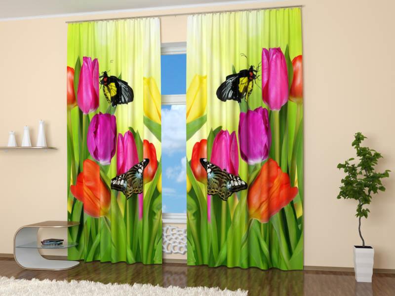 Шторы StickButik Фотошторы Тюльпаны И Бабочки