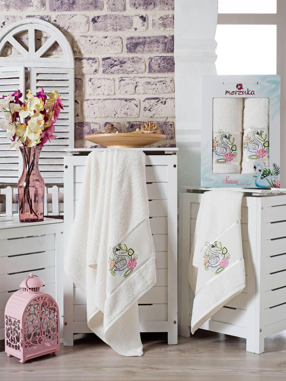 все цены на Полотенца Oran Merzuka Набор из 2 полотенец Swan Цвет: Кремовый в интернете