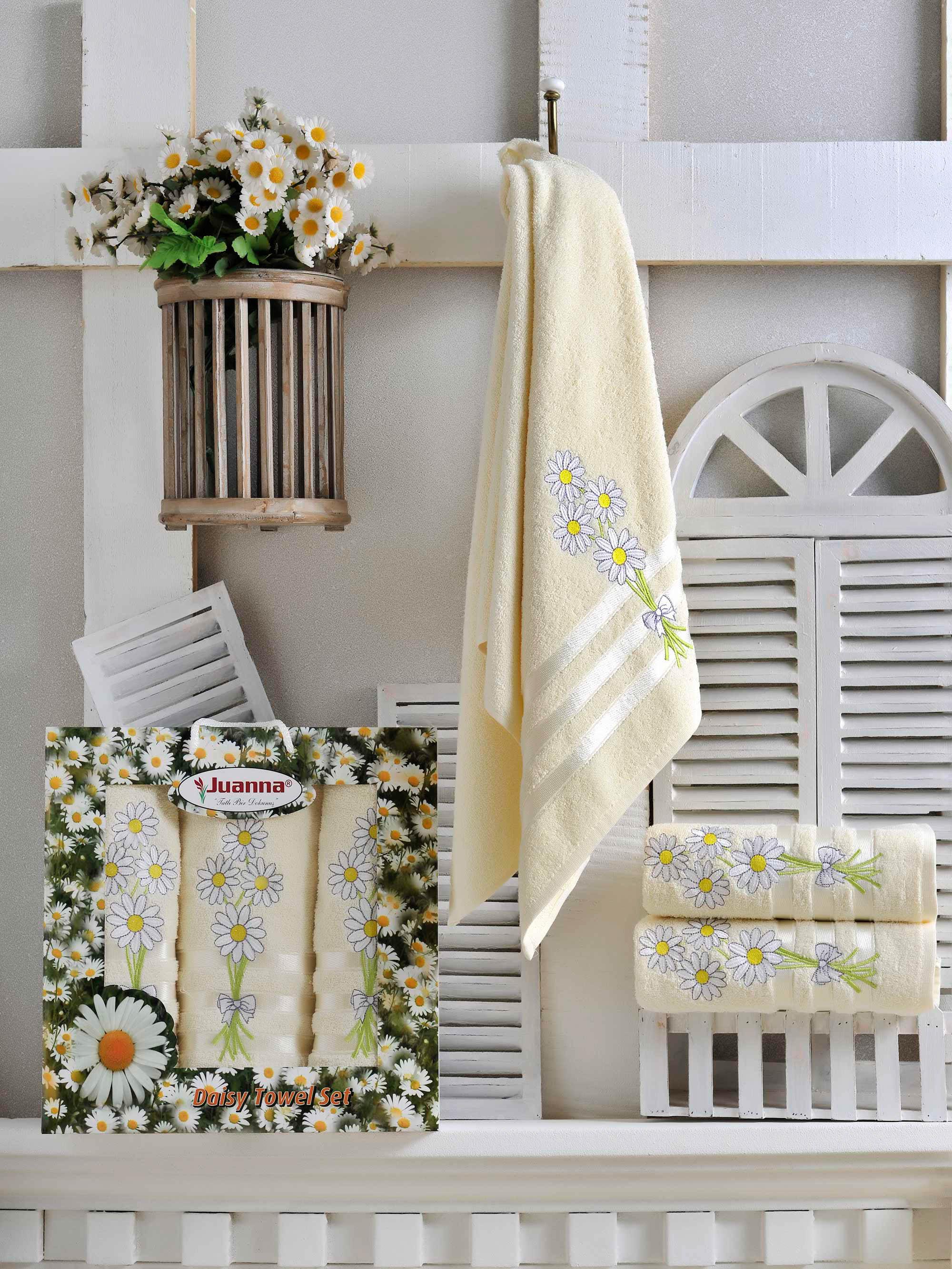 Полотенца Juanna Набор из 3 полотенец Papatya Цвет: Кремовый полотенца pupilla набор из 2 полотенец stil цвет кремовый