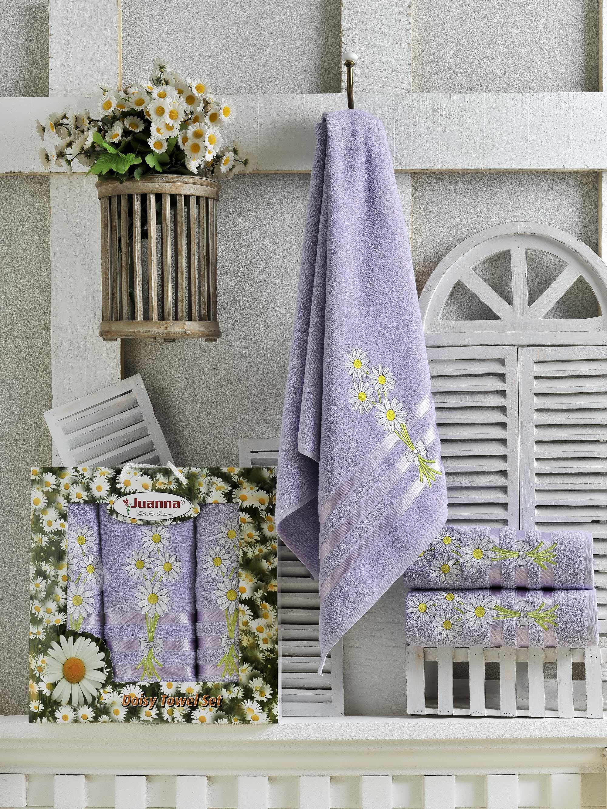 Полотенца Juanna Набор из 3 полотенец Papatya Цвет: Лиловый