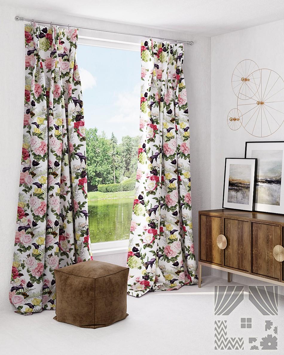 Купить Шторы ТомДом, Классические шторы Рейвен, Россия, Зеленый, Розовый, Портьерная ткань