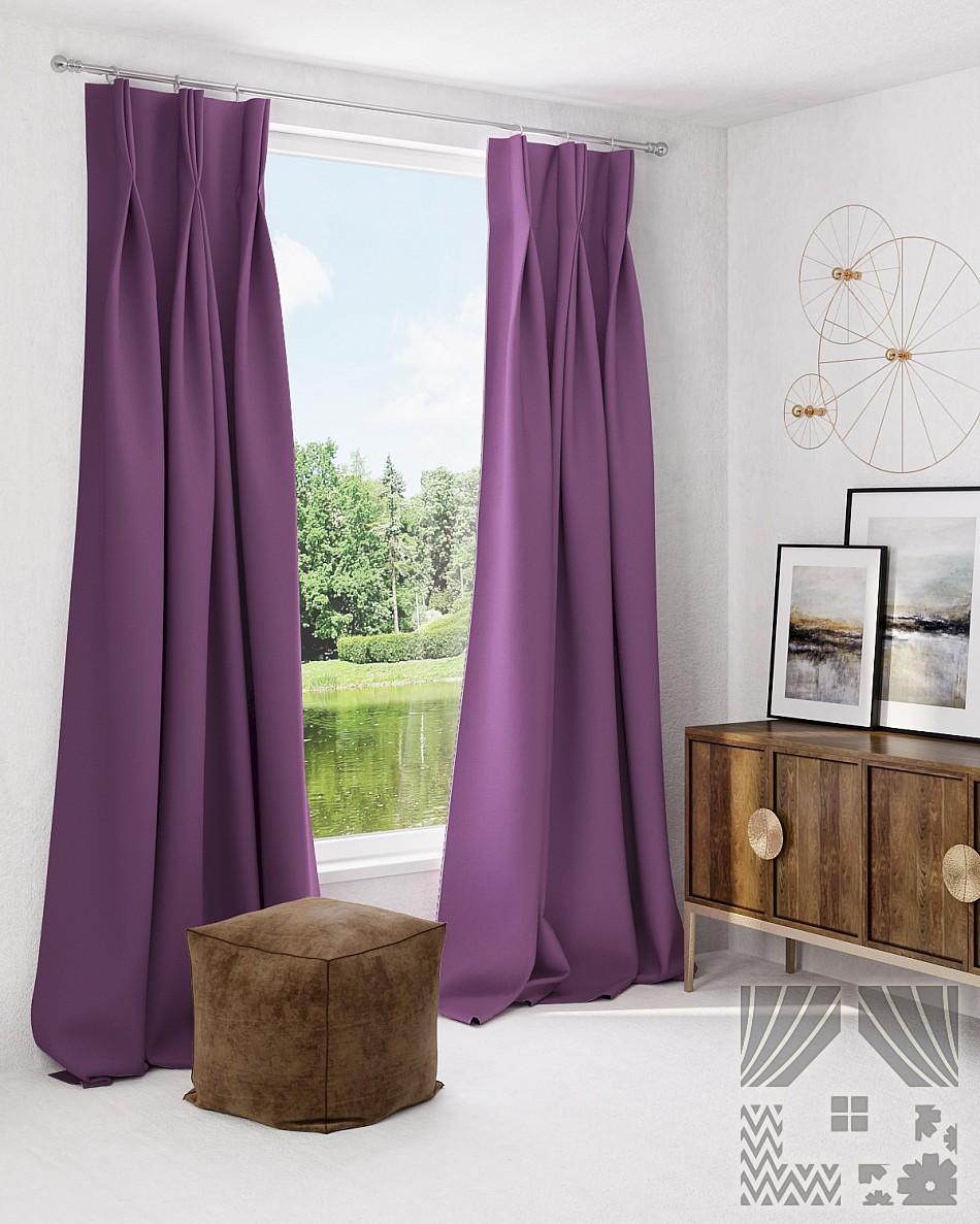 Купить Шторы ТомДом, Классические шторы Грейси Цвет: Фиолетовый, Россия, Сиреневый, Портьерная ткань