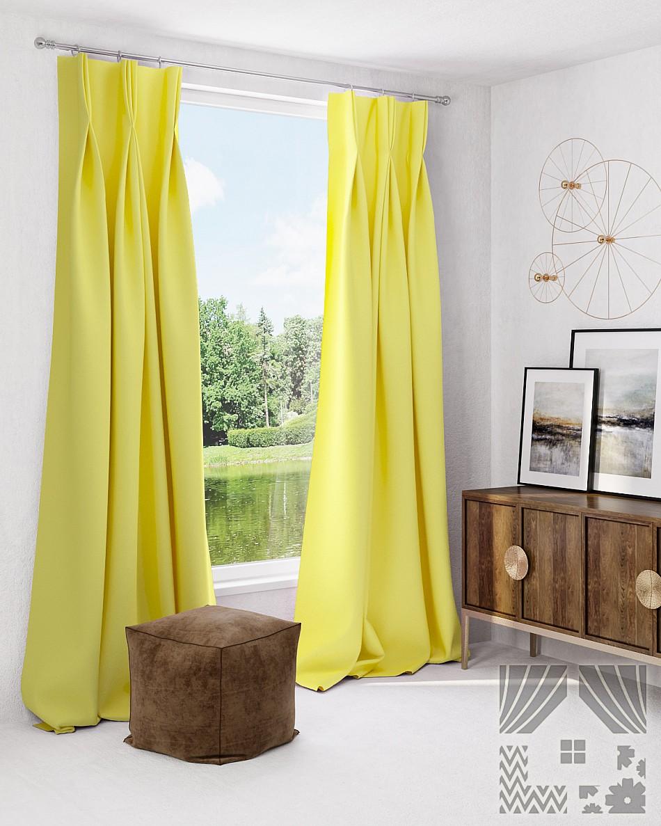 Купить Шторы ТомДом, Классические шторы Грейси Цвет: Лимонный, Россия, Желтый, Портьерная ткань