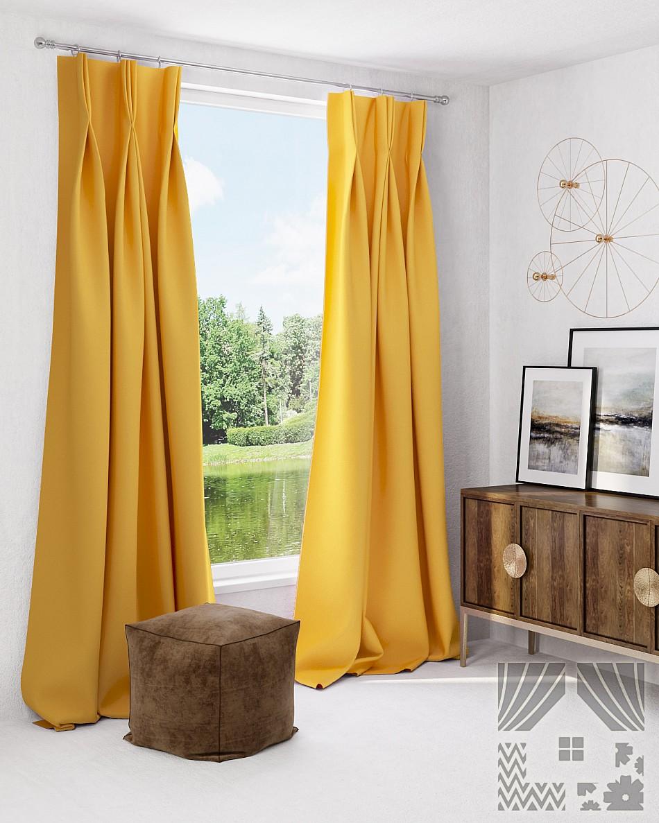 Купить Шторы ТомДом, Классические шторы Грейси Цвет: Янтарный, Россия, Желтый, Портьерная ткань