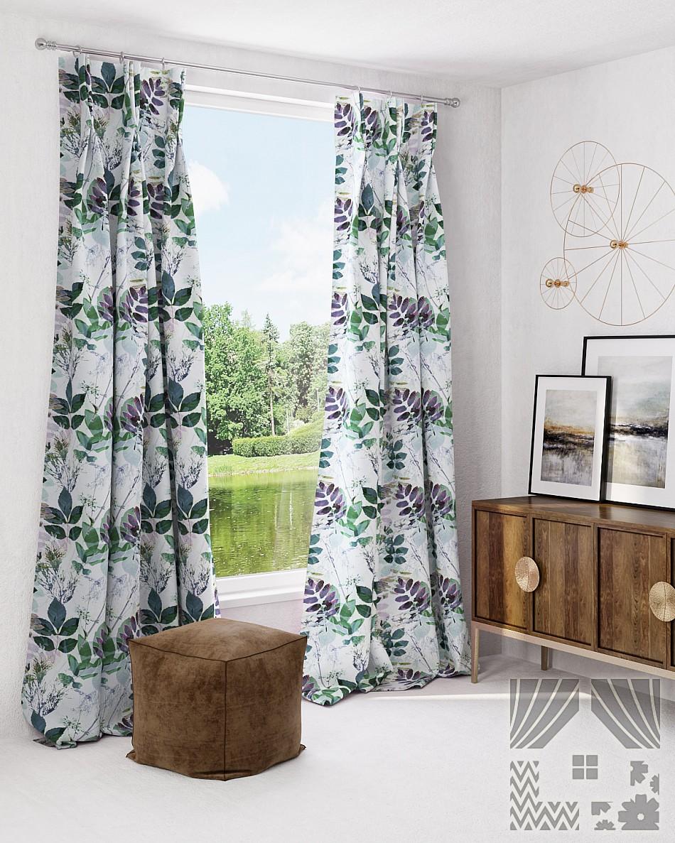 Купить Шторы ТомДом, Классические шторы Трелин, Россия, Белый, Зеленый, Портьерная ткань