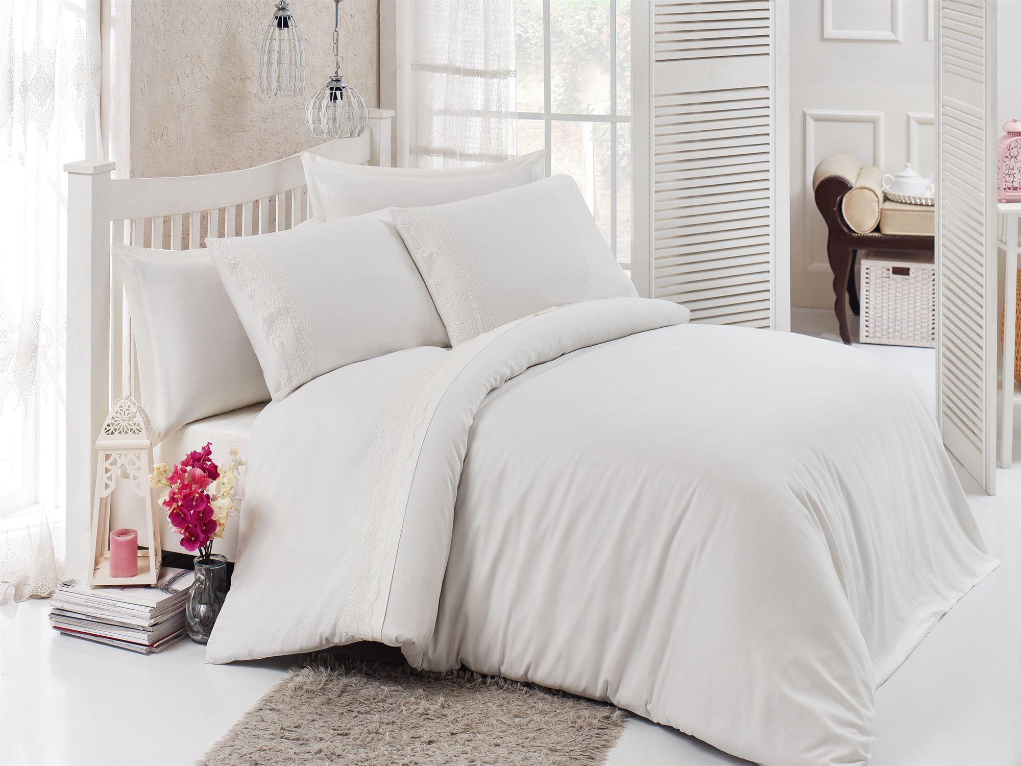 Купить Комплекты постельного белья DO'n'CO, Постельное белье Narin Цвет: Кремовый (2 сп. евро), Турция, Белый, Хлопковый сатин