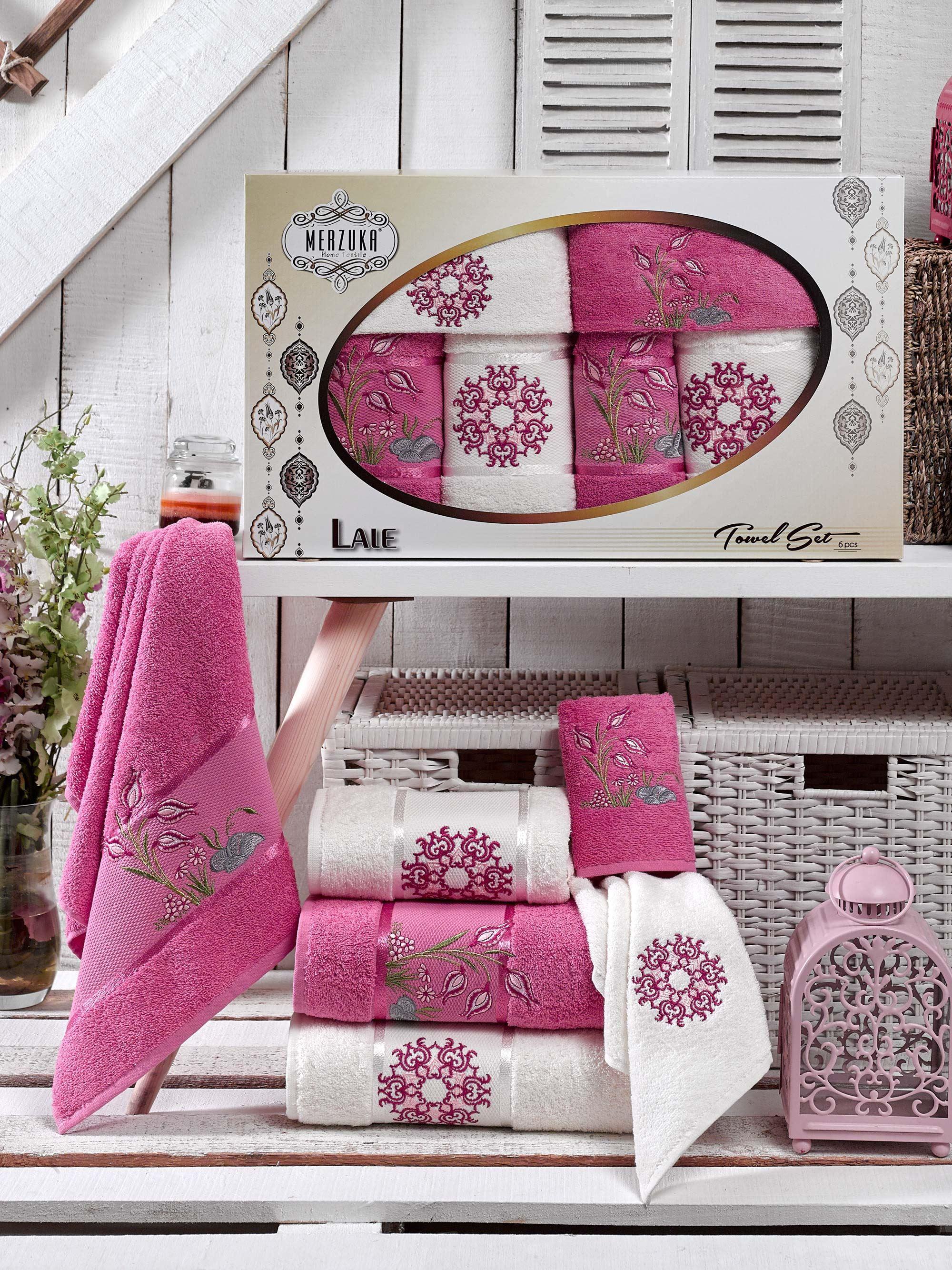 Полотенца Oran Merzuka Полотенце Lale Цвет: Темно-Розовый (30х50 см - 2 шт,50х80  -  ,70х130  -  )