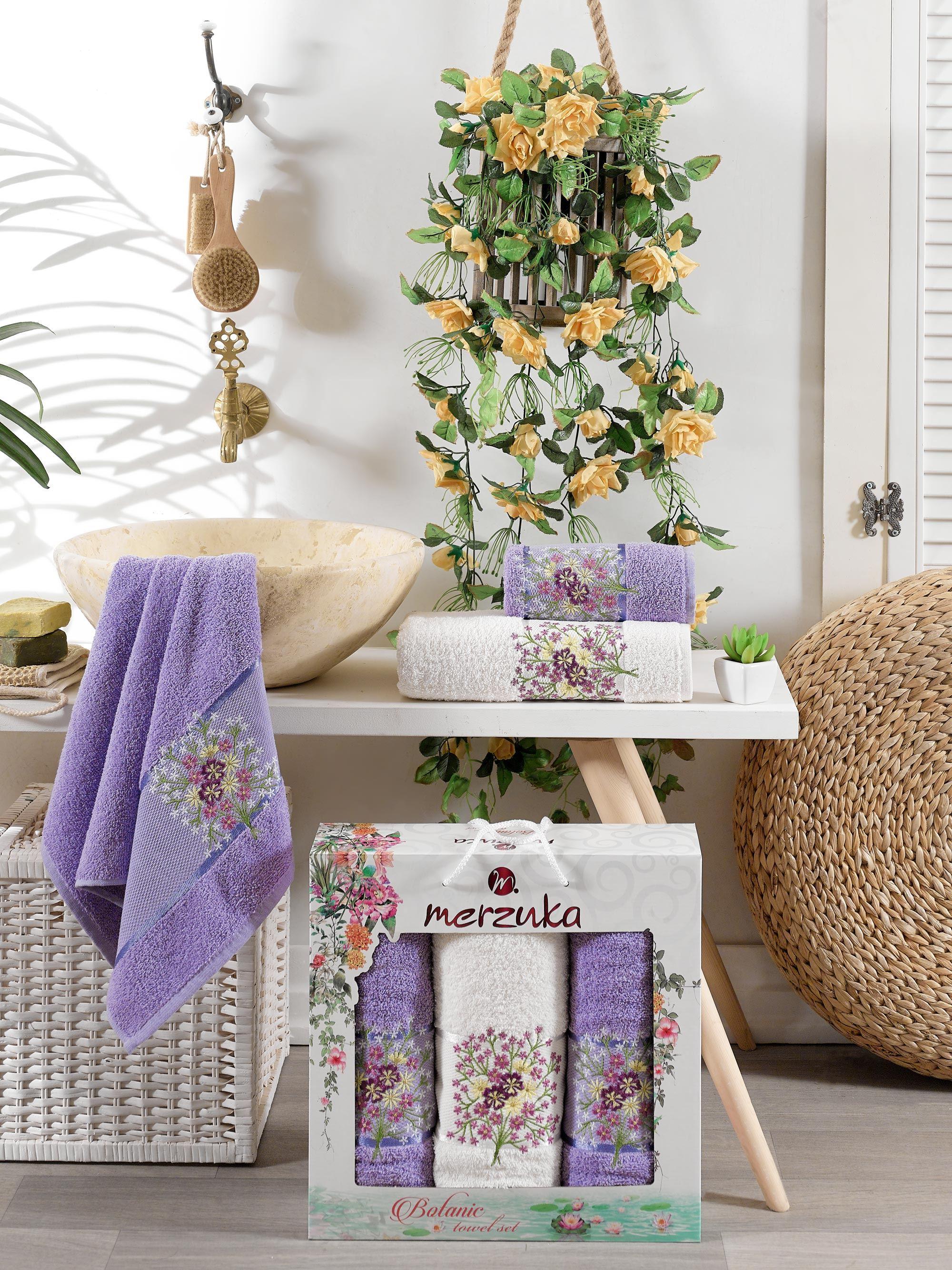 Полотенца Oran Merzuka Полотенце Botanic Цвет: Лиловый (50х80 см - 2 шт,70х130 см) гантель с мягкими накладками reebok цвет лиловый 0 5 кг 2 шт