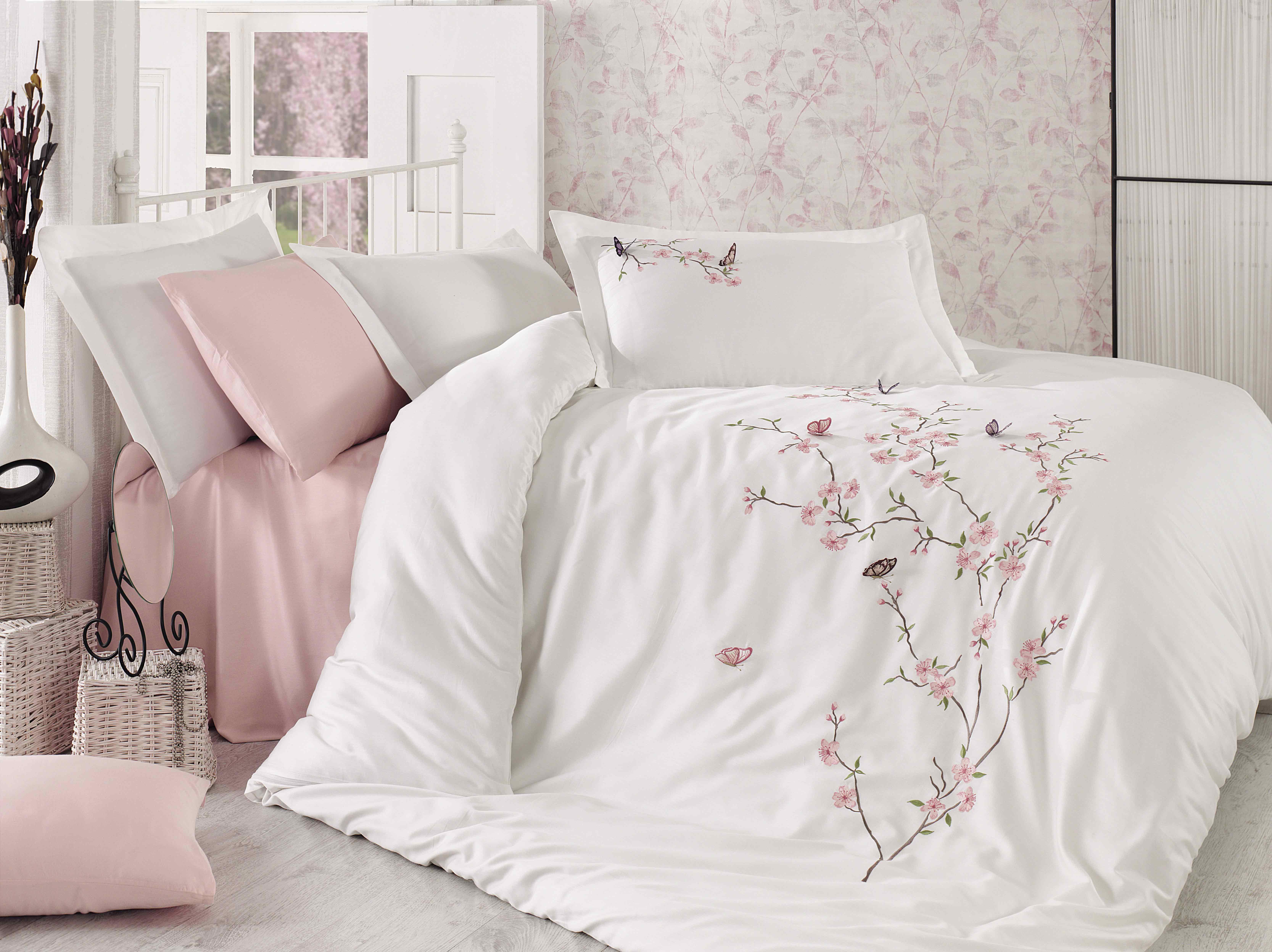 Купить Комплекты постельного белья Dantela Vita, Постельное белье Butterfly Цвет: Кремовый (2 сп. евро), Турция, Белый, Розовый, Хлопковый сатин