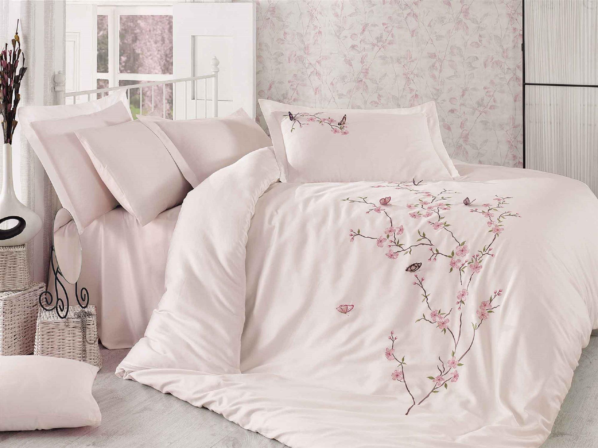 Купить Комплекты постельного белья Dantela Vita, Постельное белье Butterfly Цвет: Пудра (2 сп. евро), Турция, Розовый, Хлопковый сатин