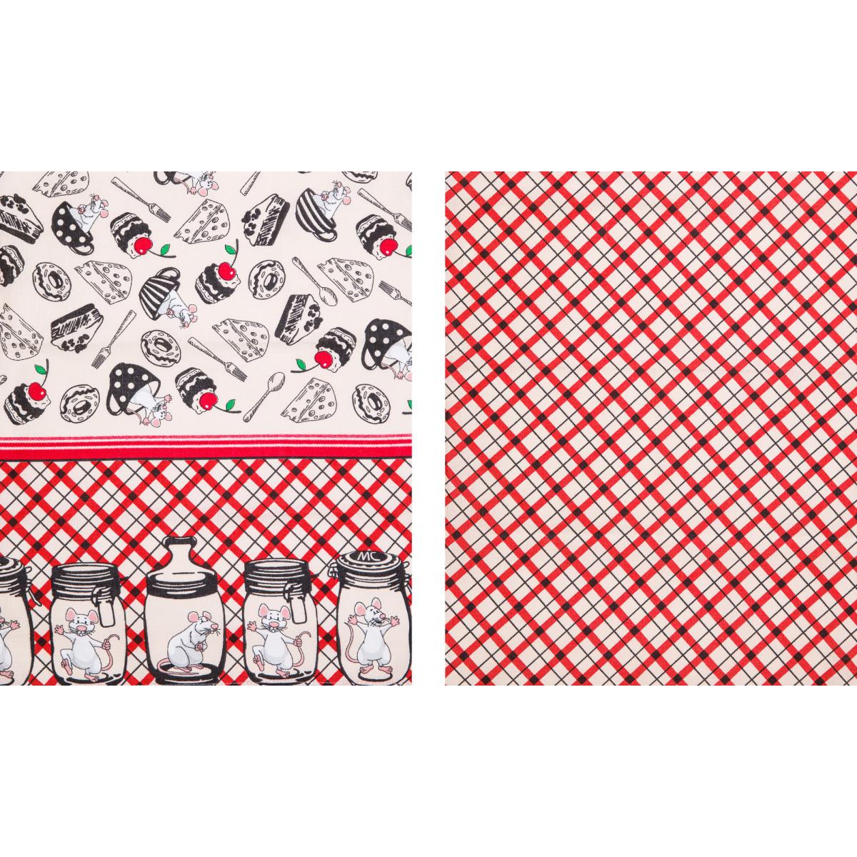Кухонное полотенце Мыши в банках и клетка цвет: красный (45х73 см - 2 шт)