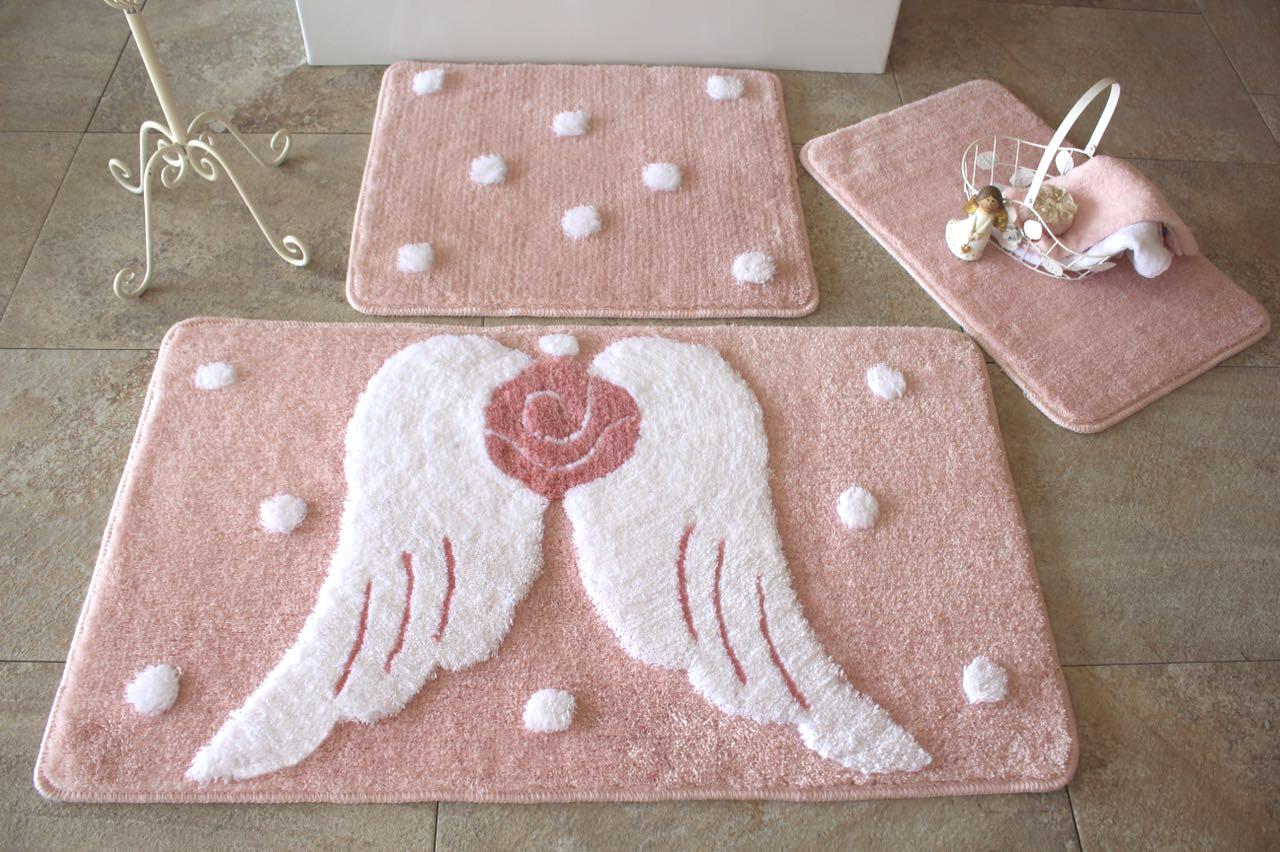 Купить Коврики для ванной и туалета DO'n'CO, Коврик для ванной Melek Цвет: Розовый (60х100 см, 40х60 см), Турция, Белый, Розовый, Искусственный мех