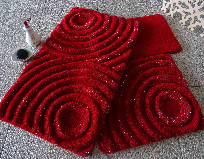 Коврики для ванной и туалета DO'n'CO Коврик для ванной Wave Цвет: Красный (60х100 см,50х60 см) коврик для ванной white fox узор цвет красный 50 см х 70 см
