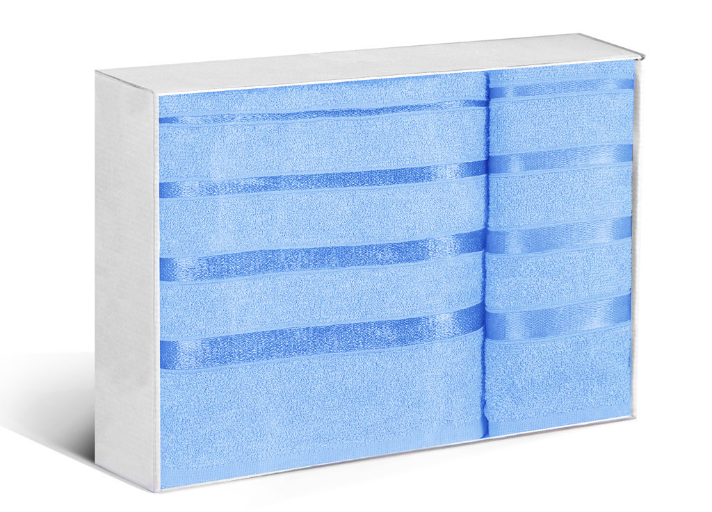 Купить Полотенца Soavita, Полотенце Шантони Цвет: Светло-Синий (50х88 см, 65х138 см), Китай, Голубой, Махра