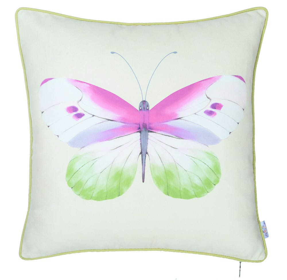 Купить Декоративные подушки Apolena, Подушка на стул Butterfly (43х43 см), Россия-Турция, Зеленый, Сиреневый, Синтетический велюр