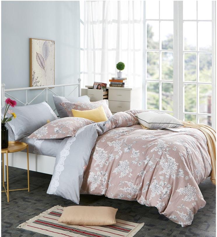 Купить Комплекты постельного белья DO'n'CO, Постельное белье Felisa (2 сп. евро), Турция, Розовый, Серый, Хлопковый сатин