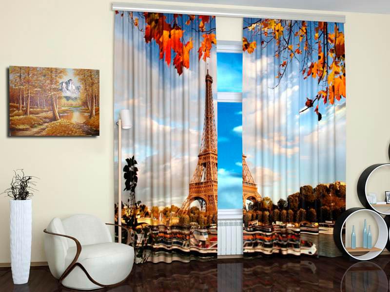 Шторы StickButik Фотошторы Осенний Париж