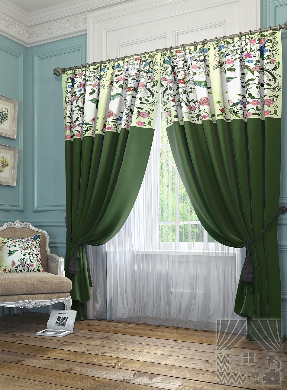 Купить Шторы ТомДом, Классические шторы Агно Цвет: Зеленый, Россия, Портьерная ткань