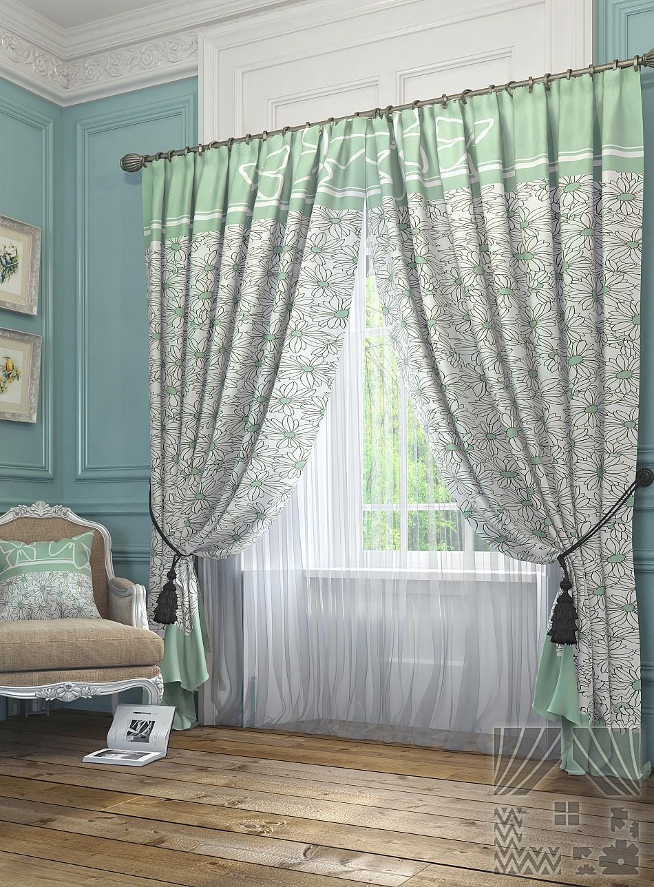 Купить Шторы ТомДом, Классические шторы Ромашки Цвет: Зеленый, Россия, Портьерная ткань
