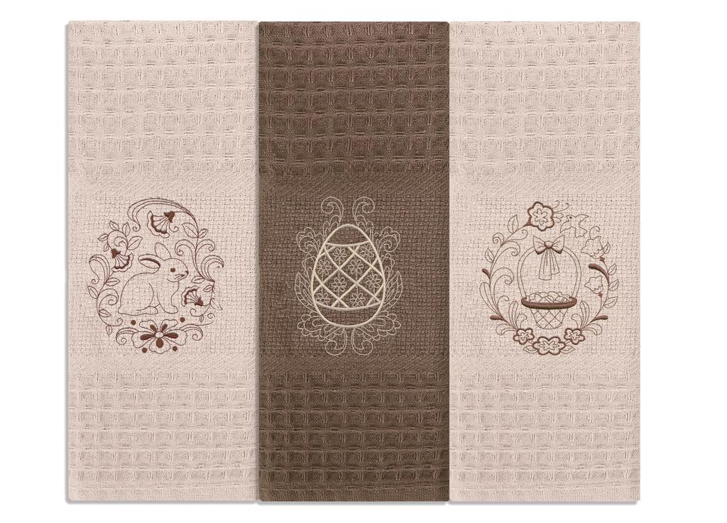 Кухонное полотенце Пасха цвет: коричневый, бежевый (40х60 см - 3 шт)