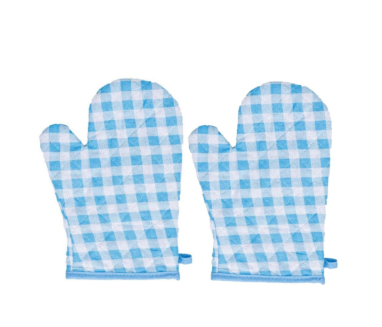 Прихватка-рукавичка Клетка цвет: голубой (20х30 см - 2 шт)
